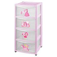 Детский пластиковый комод Бытпласт на колесах 4 ящика розовый