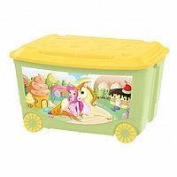 Ящик для игрушек Бытпласт на колесах с аппликацией салатовый, фото 1