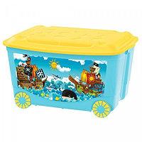 Ящик для игрушек Бытпласт на колесах с аппликацией голубой