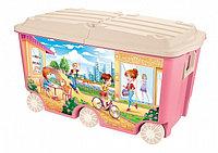 Ящик для игрушек Бытпласт на колесах с декором розовый