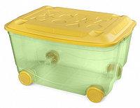 Ящик для игрушек Бытпласт на колесах зеленый