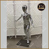Детский манекен, серебристый глянцевый, бегущий, полипропиллен