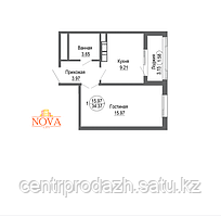 1 комнатная квартира в ЖК Nova City 34.37 м²