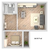 2 комнатная квартира в ЖК Nova City 55.77 м², фото 1