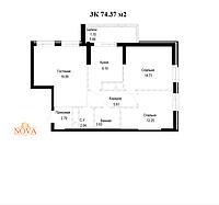 3 комнатная квартира в ЖК Nova City 74.37 м², фото 1