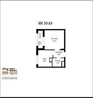 1 комнатная квартира в ЖК Nova City на Рыскулбекова 33.13 м²