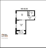 1 комнатная квартира в ЖК Nova City на Рыскулбекова 42.62 м², фото 1