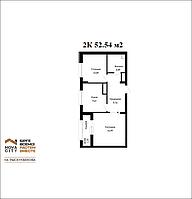 2 комнатная квартира в ЖК Nova City на Рыскулбекова 52.54 м², фото 1