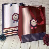 """Подарочный пакет """" Best Wishes! """" красная полоска 24 х 18 х 8 см"""