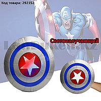 Щит Капитана Америки светоизлучающий на резинке для фиксации на руке 30,5 см в ассортименте