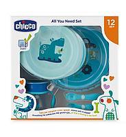 Набор детской посуды 12м+, голубой (Chicco, Италия)