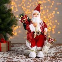 Дед Мороз 'В блестящей шубке с подарками' 15х30 см