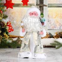 Дед Мороз 'В белой шубке с подарками', 30 см, двигается, с подсветкой