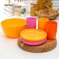 Набор посуды на 6 персон 'Дорожный', разноцветный