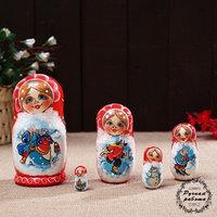 Матрёшка 'Народные гуляния', красная, 5 кукольная, 14 см