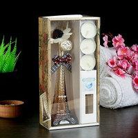 Набор подарочный 'Эйфелева башня'(ваза,2 палочки, 3 свечи ,декор,аромамасло 30 мл), океан