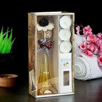 Набор подарочный 'Эйфелева башня'(ваза,2 палочки, 3 свечи ,декор,аромамасло 30 мл), ваниль