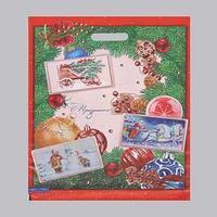 Пакет 'Новогодняя открытка', полиэтиленовый с вырубной ручкой, 41 х 51 см, 80 мкм (комплект из 25 шт.)