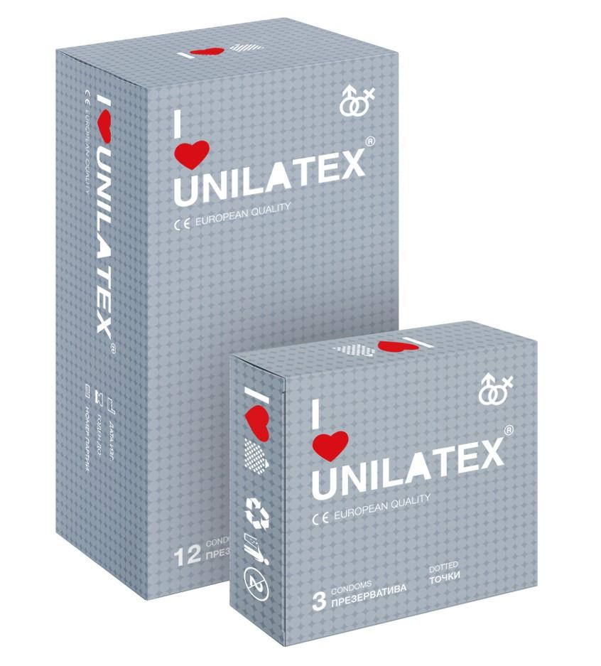 """Презервативы UNILATEX """"DOTTED"""" с точечной поверхностью"""
