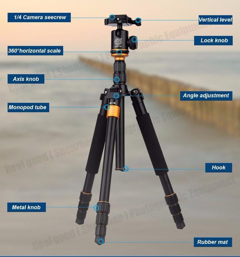 Штатив/ монопод Beike Q999S алюминиевый Профессиональный для фотоаппарата - фото 4