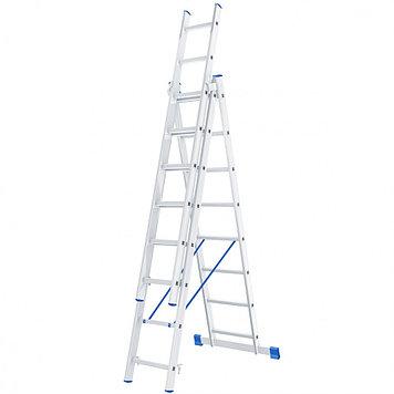 Лестница 3 х 8 ступеней алюминиевая трехсекционная Россия