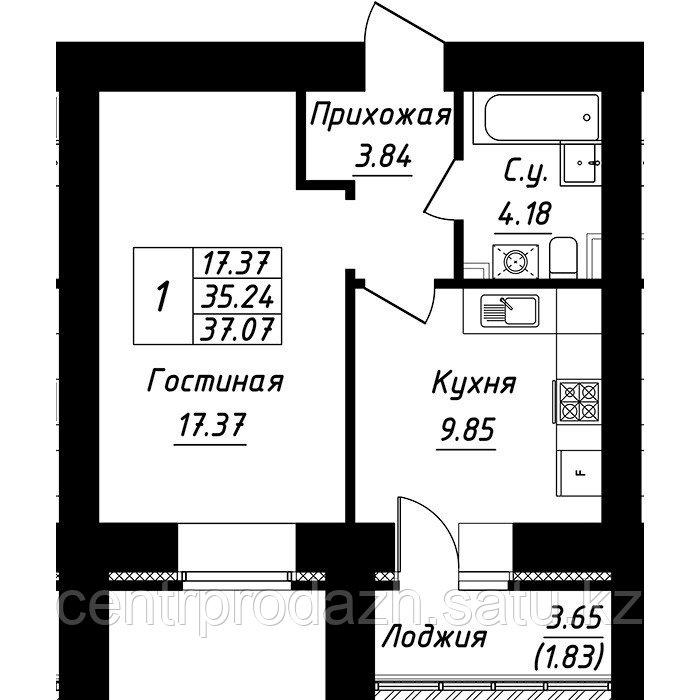 1 комнатная квартира в ЖК Будапешт 37.07 м²