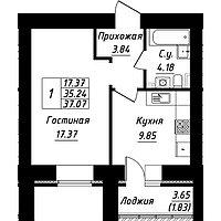 1 комнатная квартира в ЖК Будапешт 37.07 м², фото 1