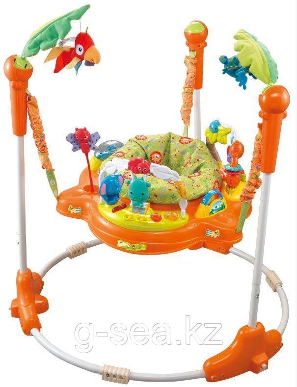 Konig Kids: Развивающий центр прыгунки с игрушками Джунгли (круглая база, оранжевые)