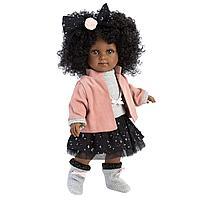 LLORENS: Кукла Зури 35см, мулатка в розовом жакете и черной кружевной юбке