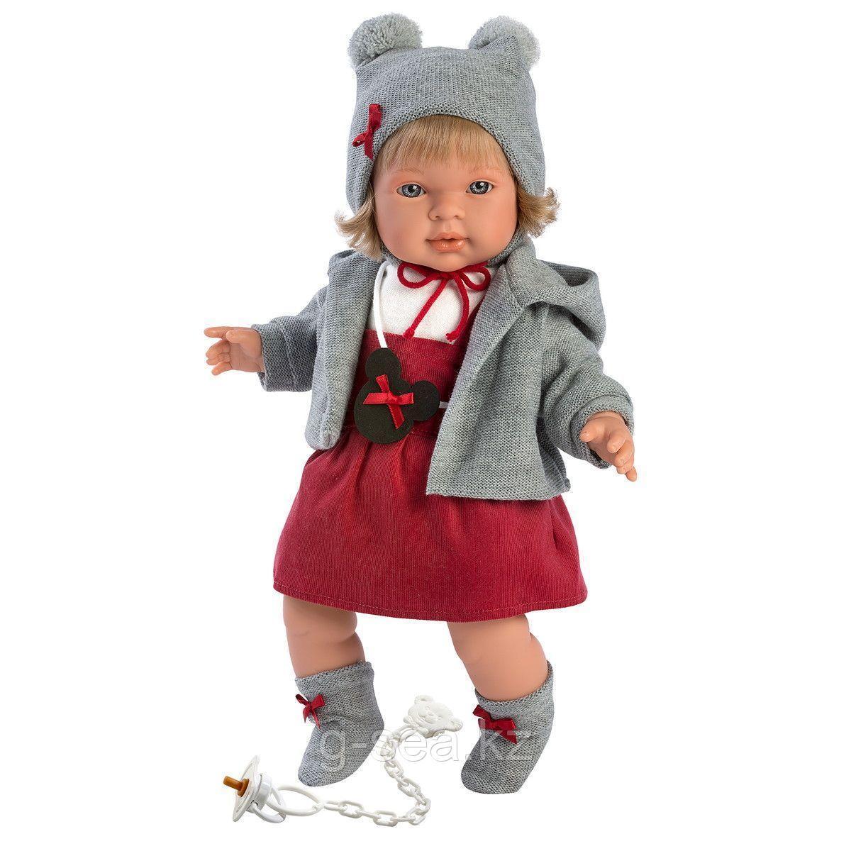 LLORENS: Кукла Карла 42 см, блондинка в серой курточке и красном сарафане