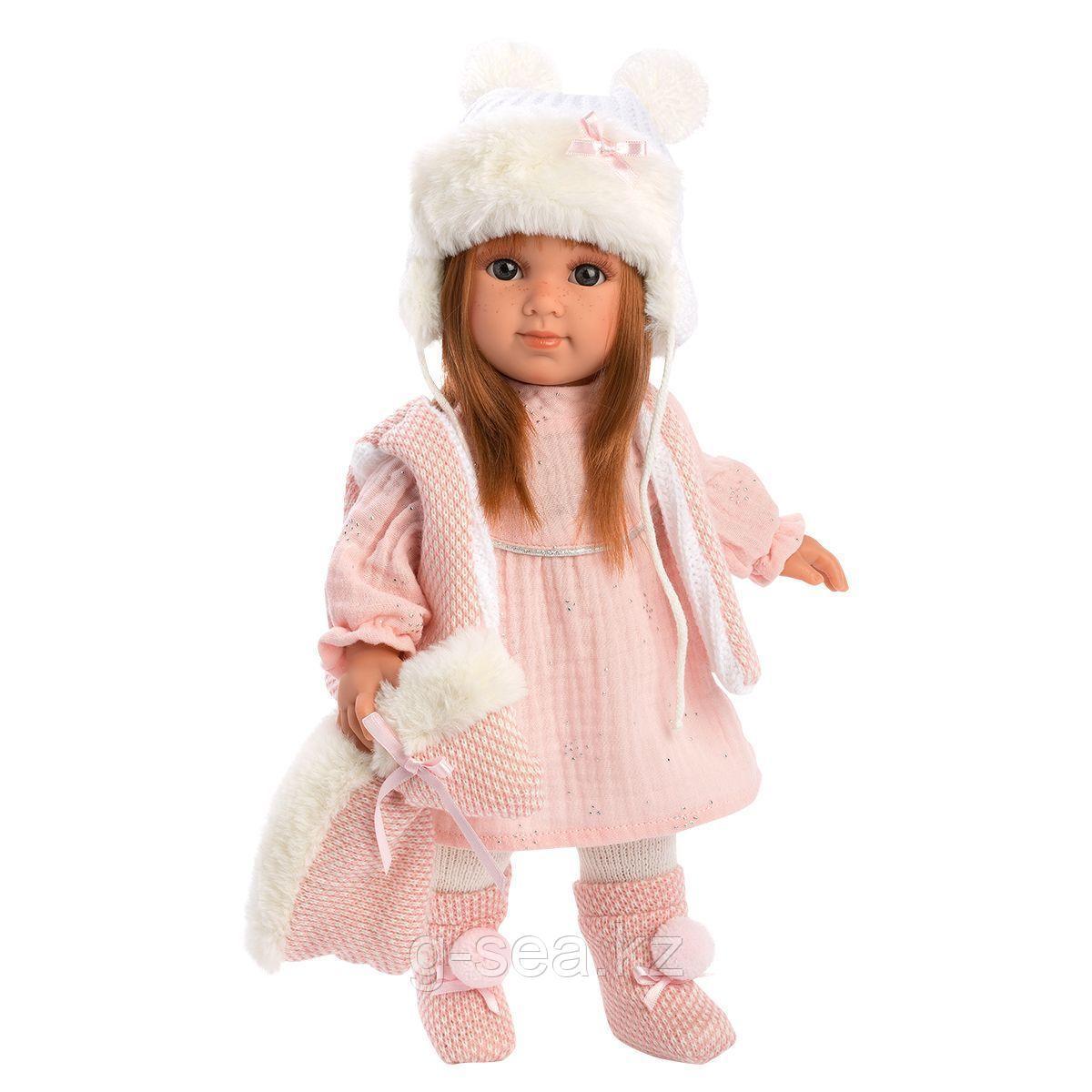 LLORENS: Кукла Николь 35 см., шатенка в розовом костюме