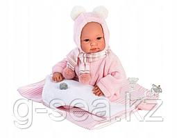 LLORENS: Пупс 36 см в розовой шапочке с пумпонами, с одеялом-рюкзачком