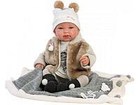 LLORENS: Пупс Малыш 43 см в меховом жилете, с одеялом, фото 1