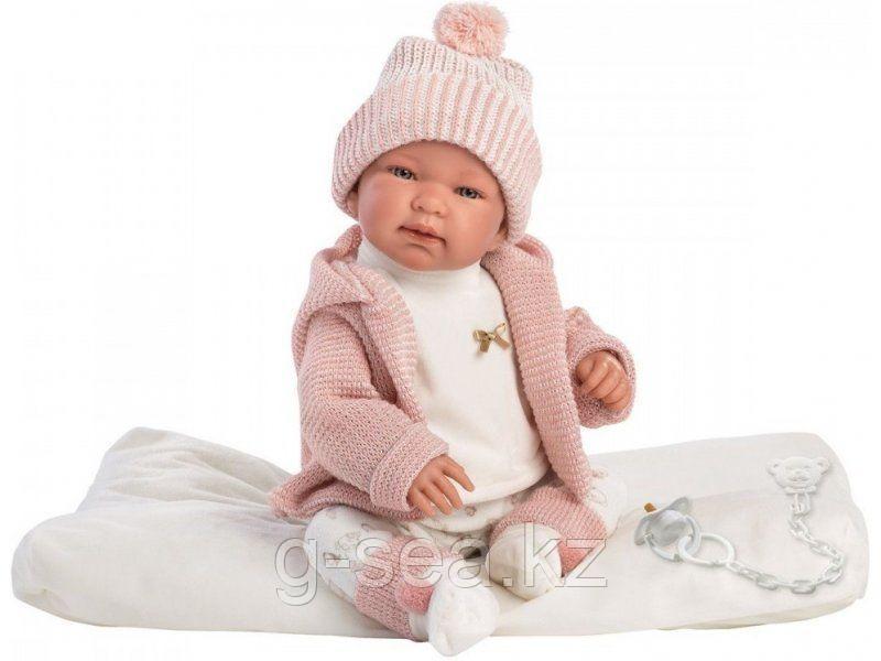 LLORENS: Пупс Малыш 43 см в розовом костюме, с одеялом