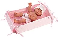 LLORENS: Пупс Малышка 26 см., с детской кроваткой, фото 1