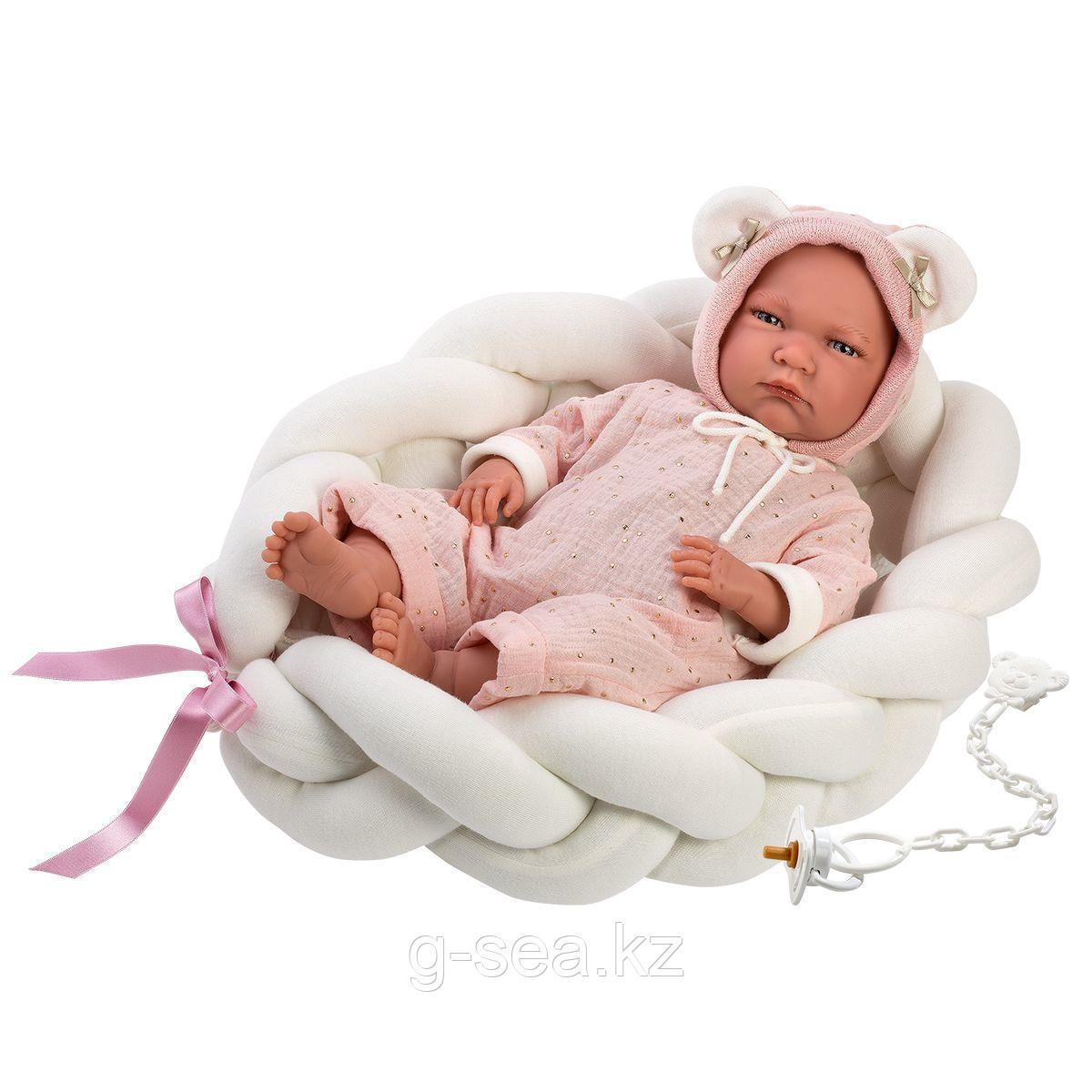 LLORENS: Пупс Малышка 42 см., с колыбелькой в розовом