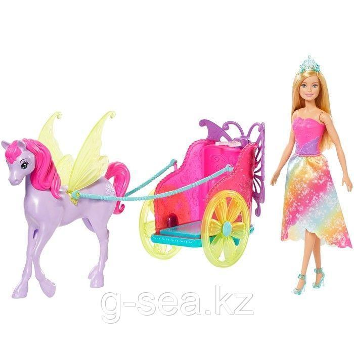 Barbie: Дримтопия: Кукла Barbie Dreamtopia Сказочный экипаж с фантастической лошадью - фото 1