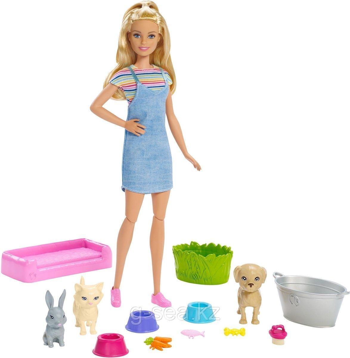 Barbie: Игровые наборы с питомцами: Игровой набор - Блондинка с питомцами, меняющими цвет