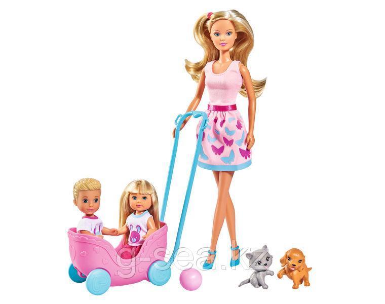 "Simba: Кукла Штеффи, Еви, Тимми с питомцами, набор ""Веселая прогулка"", 29см., 12см., 12см.,"