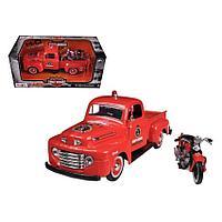 Maisto.Harley-Davidson: 1:24 H-D 1948 Ford F-1 Pickup с мотоциклом H-D 1936 EL Knucklehead