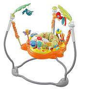 Konig Kids: Развивающий центр прыгунки с игрушками Джунгли (фигурная база, оранжевые)