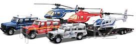 BBURAGO: 1:50 Н-р машинка Land Rover Defender 110 + вертолет, в ассортименте