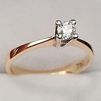 Золотое кольцо с бриллиантом 0,15Сt VVS2/E EX-Cut, фото 1