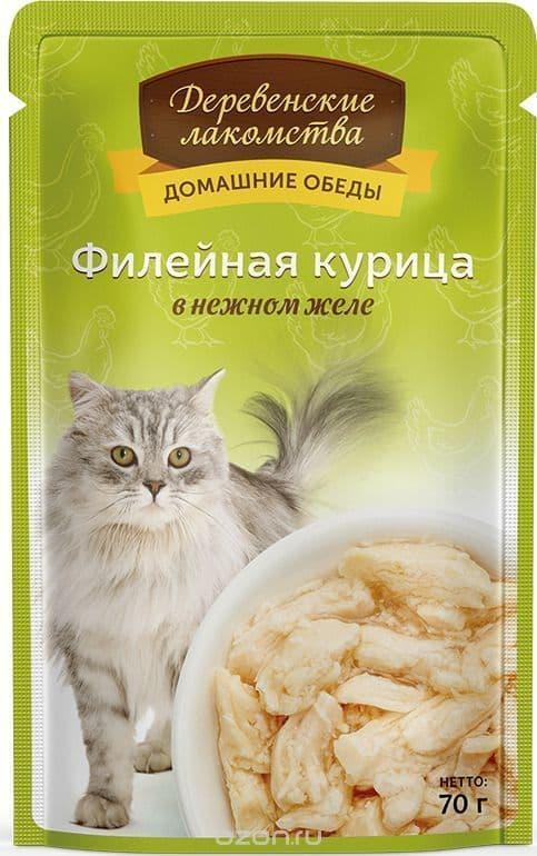 Влажный корм для кошек Деревенские лакомства. Филейная курица в нежном желе 70 гр.