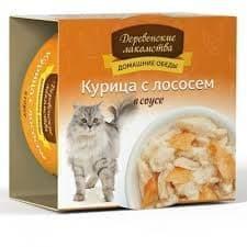 """Консервы для кошек """"Деревенские лакомства"""". Курица с лососем в соусе. 80г."""