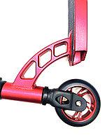 🛴 Трюковой самокат профессиональный Kick Scooter с усиленным хомутом и рулем 85 см, колесо 100мм - Красный, фото 1