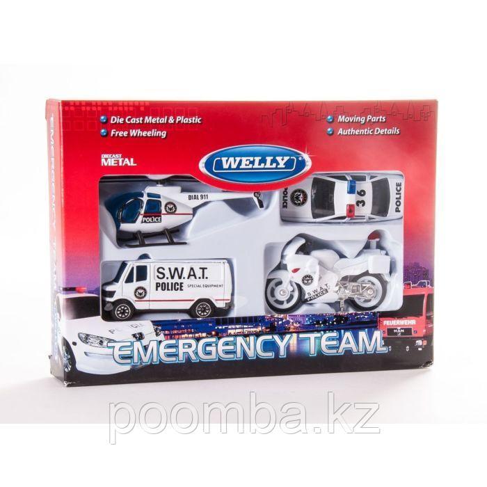 """Игровой набор детских машинок Welly """"Служба спасения - полиция"""" 4 шт"""