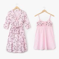 Комплект для беременных и кормящих (сорочка, халат) цвет розовый, принт МИКС, размер 52