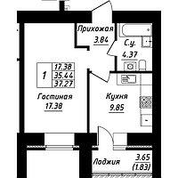 1 комнатная квартира в ЖК Будапешт 37.27 м², фото 1