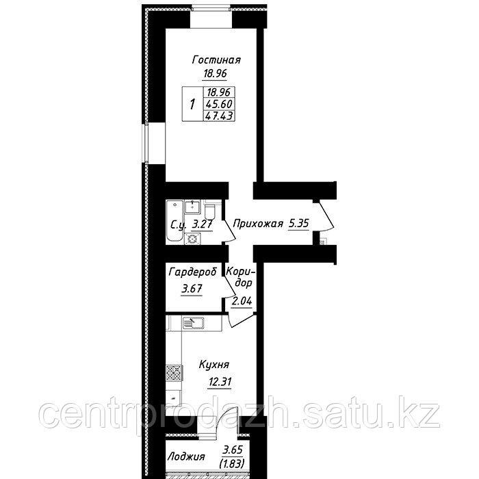 1 комнатная квартира в ЖК Будапешт 47.43 м²